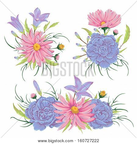 Collection floral design elements for wedding invitations and birthday cards. Bluebell, geranium, chamomile flowers. Isolated elements. Vintage hand drawn vector illustration in watercolor style.