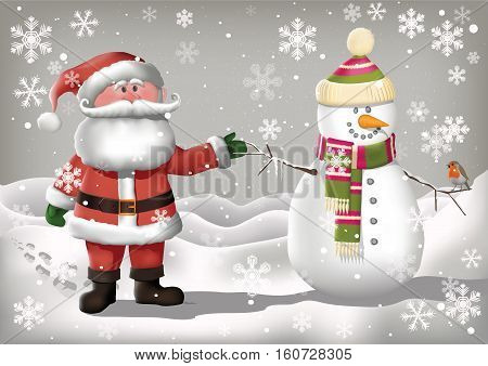 Snowman and Santa Clause characters in a wintery scene with snowflakes and a robin.