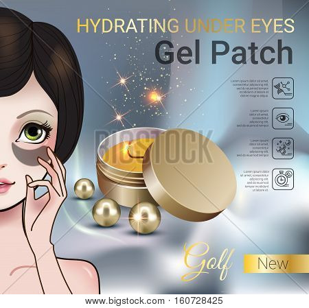 Hydrating Under Eye Gel Patches ads. Vector Illustration with Manga style girl and eye gel patches container.