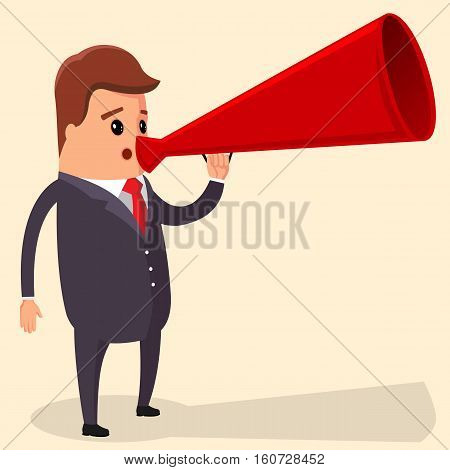 Vector manager or businessman shouts into a megaphone. Businessman Shouting in Megaphone. Vector illustration