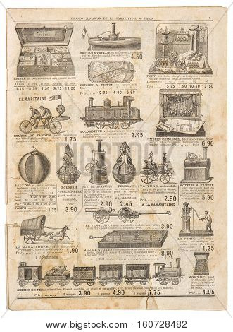 Vintage victorian toys collection. Old engraved picture. Antique googs shop advertising page of original shopping catalog La Samaritaine Paris France circa 1897
