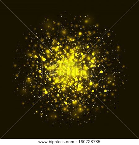 Vector gold glowing light glitter background. Christmas golden magic lights background. Star burst with sparkles on black background