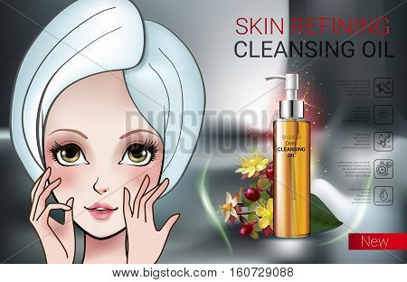 Deep Cleansing Oil ads. Vector Illustration with Manga style girl and skin cleansing oil bottle.