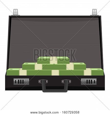 Suitcase with money concept. Open suitcase full of money, business illustration. Icon with flat color style
