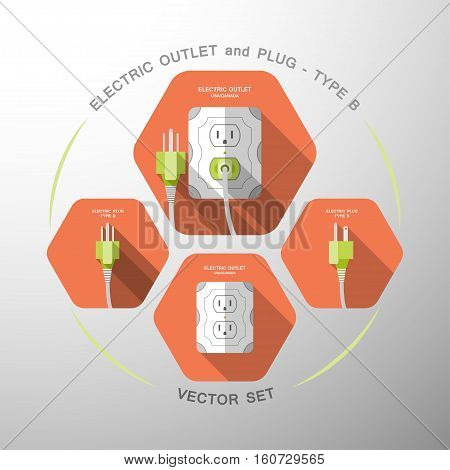 Vector set of electric outlet and plug type B isolated icons with the inserted green plug on the red hexagon background with shadow.