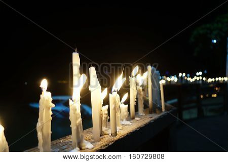 Candle light up on Beach road in Pattaya on night