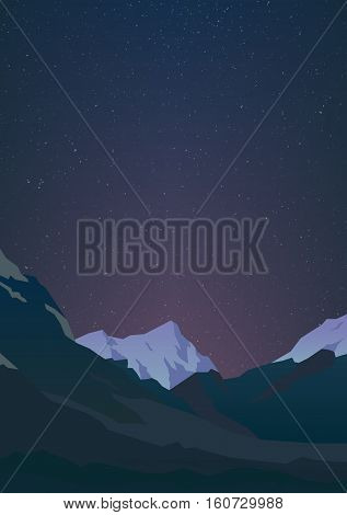 High mountains and calm clear sky with billion stars. Spectacular view. Purple glow. Poster or banner. Modern realistic design. Vector illustration.