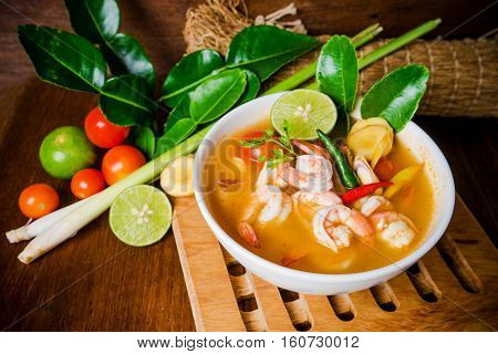 Tom Yam Kong Or Tom Yum Soup. Thai Food.