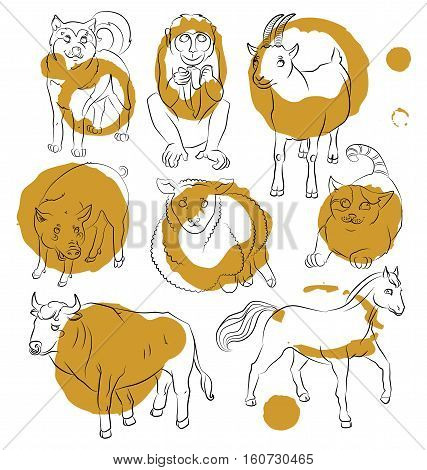 image of a bull cat dog goat pig horse sheep and monkey - suitable for a child's coloring and not only. For your convenience each significant element is in a separate layer. eps10