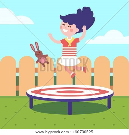 Girl jumping on a trampoline at the backyard. Childhood joy and happiness. Modern flat vector illustration clipart.