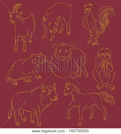 image of a bull goat pig horse sheep monkey and rat - suitable for a child's coloring and not only. For your convenience each significant element is in a separate layer. eps10