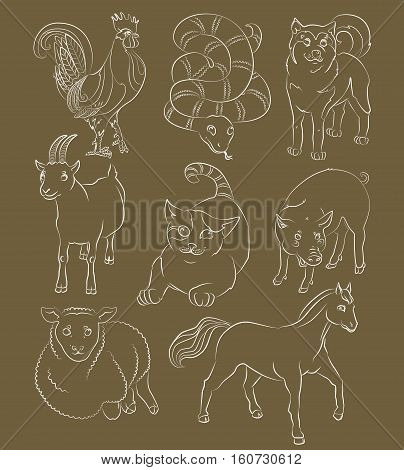 image of a cat dog goat pig horse sheep and snake - suitable for a child's coloring and not only. For your convenience each significant element is in a separate layer. eps10