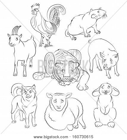 image of a dog goat pig sheep tiger rat and rabbit - suitable for a child's coloring and not only. For your convenience each significant element is in a separate layer. eps10