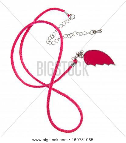 Red string necklace, half heart pendant, isolated white background