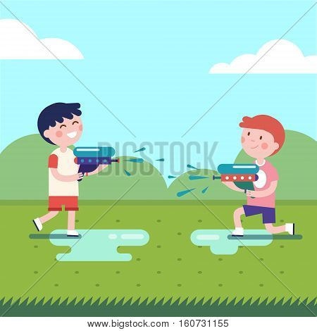 Two boys playing water guns wars. Wet kids shooting squirt guns. Modern flat vector illustration clipart.