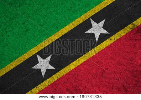 Saint Kitts And Nevis  Flag On An Old Grunge Background