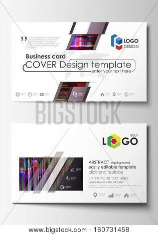 Business card templates. Easy editable layout, abstract flat design template, vector illustration. Glitched background made of colorful pixel mosaic. Digital decay, signal error, television fail. Trendy glitch backdrop.