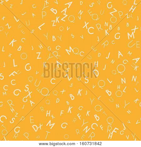 Random letters seamless pattern. Abstract background with alphabet. Creative wallpaper design in office style. Mix of letters. Latin ABC. Promotion of reading, publishing and copyright.