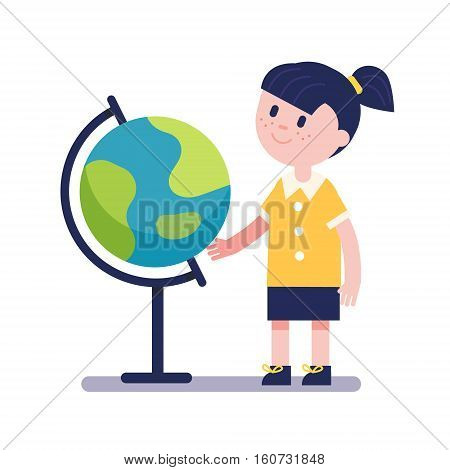 Girl learning geography with earth terrestrial globe. Kid character. Modern flat vector illustration clipart.