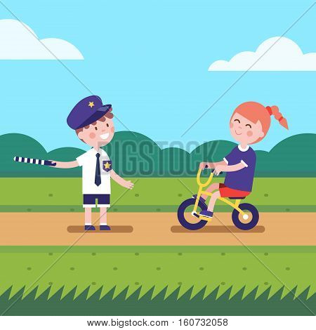 Kids playing police traffic officer regulating bike riding road. Girl and boy playing games characters. Modern flat vector illustration clipart.