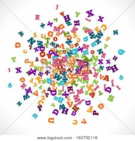 Abstract colorful alphabet ornament border isolated on white background. illustration for bright education, writing, poetic design. Random letters fly around. Book concept for grammar school.