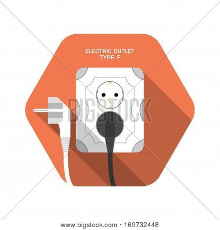 Electric outlet type F vector isolated icon with the inserted black plug on the red hexagon background with shadow.