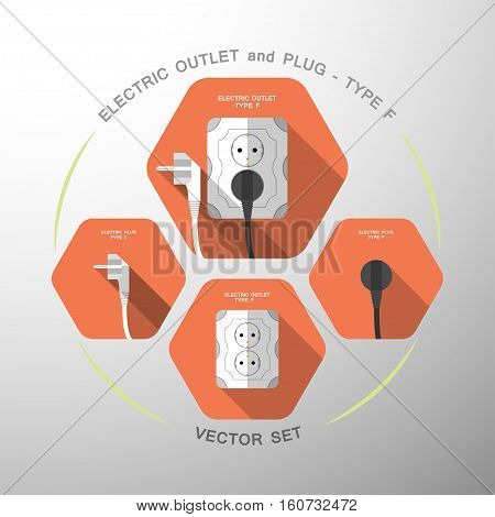 Vector set of electric outlet and plug type F isolated icons with the inserted black plug on the red hexagon background with shadow.