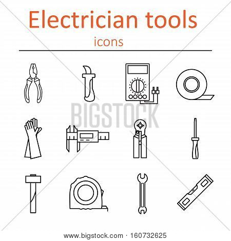 Icon set of tools electrician. Vector illustration.