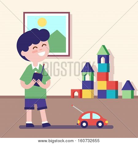 Boy playing with rc car with remote control in hands. Modern flat vector illustration clipart.