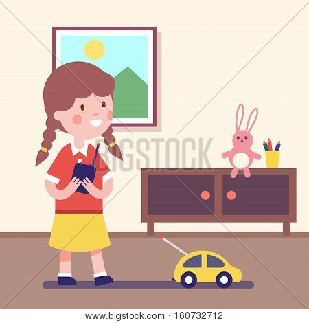 Girl playing with rc car with remote control in hands. Modern flat vector illustration clipart.