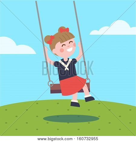 Girl swinging on a rope swing. Modern flat vector illustration clipart.