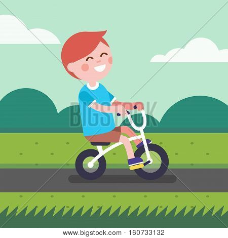 Little boy kid riding bicycle a outdoors on a park bike path. Cartoon character clipart. Modern flat style illustration.