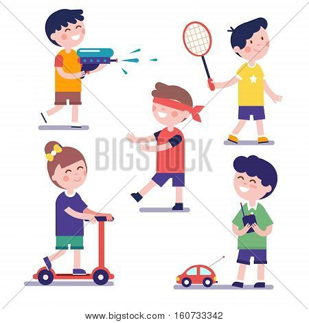Various playing kids set. Modern flat style illustration. Cartoon character clipart.