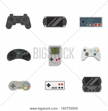 Game console joystick computer wireless devices vector illustration. Game console joystick electronic joy control video game technology set isolated on white background.