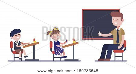 Teacher or tutor studying with group of kids sitting at school desks. Modern flat vector illustration. Cartoon character clipart.