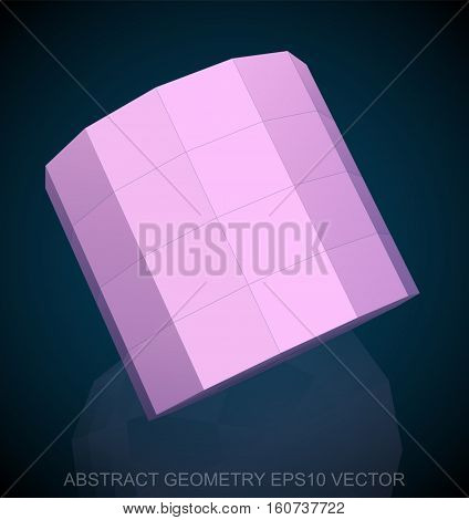 Abstract geometry: low poly Pink Cylinder. 3D polygonal object, EPS 10, vector illustration.
