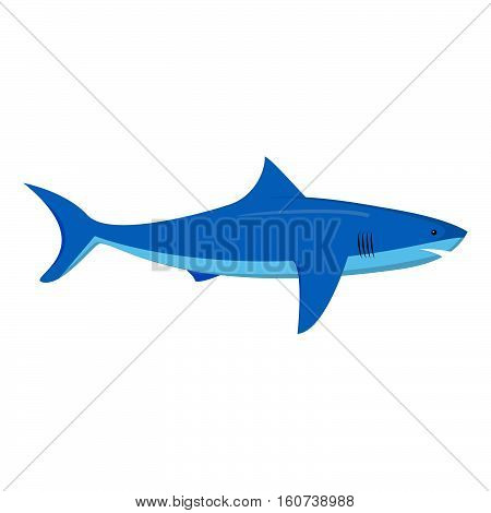 Vector flat with an illustration of a shark. An element of design of the websites about fishing. An icon for games. Siluyet of a shark.