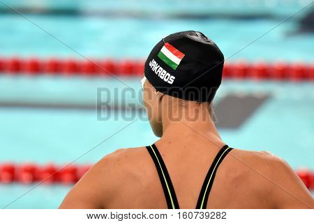 Hong Kong China - Oct 29 2016. Zsuzsanna JAKABOS (HUN) at the start of the Women's Freestyle 800m Final. FINA Swimming World Cup Victoria Park Swimming Pool.