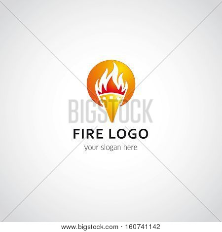 Flaming torch in sunset vector logo. Sport fire sign. Competitions, union, club or confederacy icon.