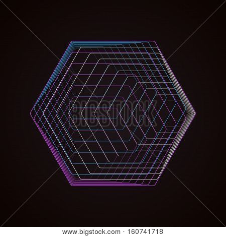 Abstract polygonal logo isolated on black. Geometric design symbol, hexagonal geometry. Vector background made of hexagons