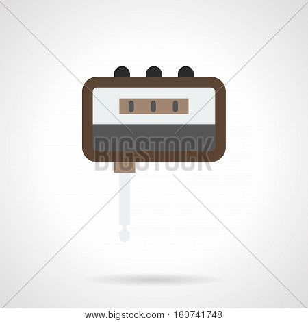 Portable headphone amp tool. Digital tuner. Electronic music accessories for rehearsals before concert, playing guitar at home. Flat color style vector icon.