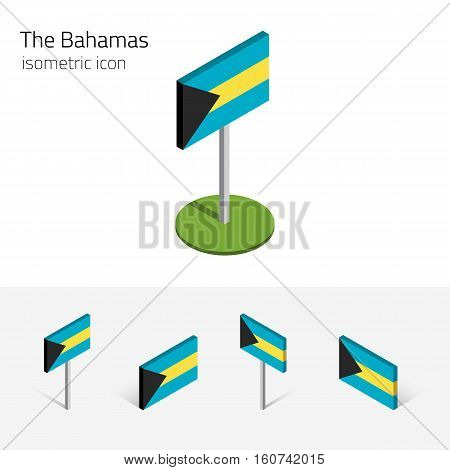 Bahamian flag (Commonwealth of the Bahamas) vector set of isometric flat icons 3D style different views. Editable design elements for banner website presentation infographic poster map. Eps 10