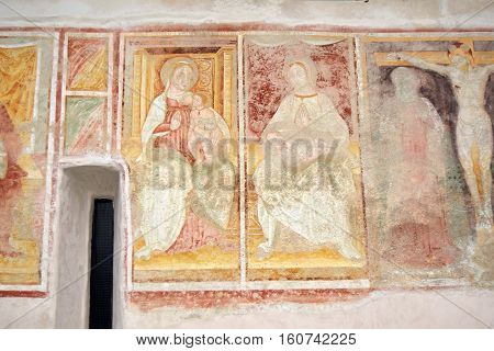 The frescoes of the fifteenth century church of the village of Zone on Lake Iseo