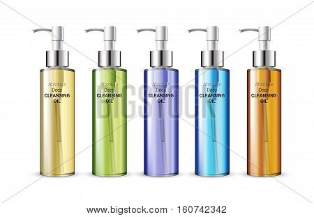 Deep Cleansing Oil in different color of packages. Vector illustration of realistic skin cleansing oil bottles isolated on white background.