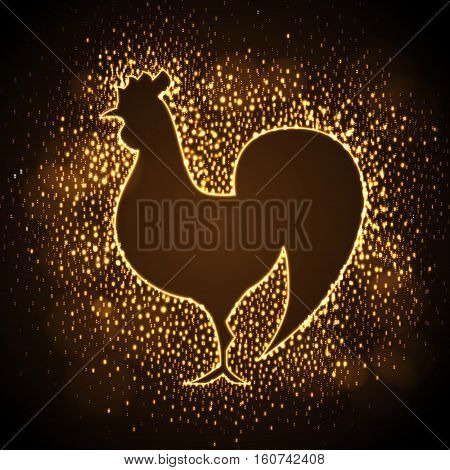 Neon sign of golden cock on disco background