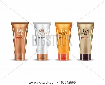 Sun Protection Cream in different color of packages. Vector illustration of realistic packages of Sun Protection Cream tubes.
