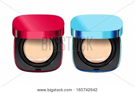 Powder cushion in different color of containers. Vector illustration realistic powder cushion.