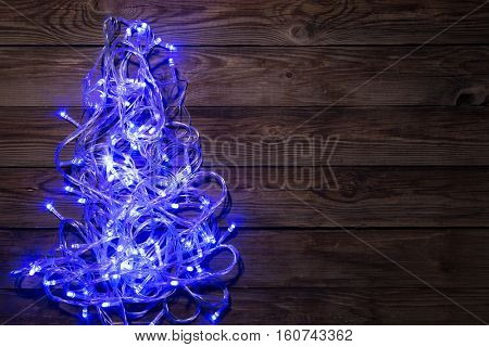 Christmas festoon shining blue color