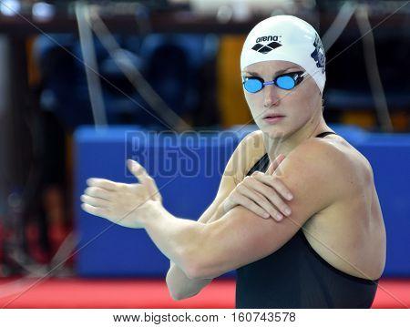 Hong Kong China - Oct 29 2016. Katinka HOSSZU (HUN) at the start of the Women's Freestyle 800m Final. FINA Swimming World Cup Victoria Park Swimming Pool.
