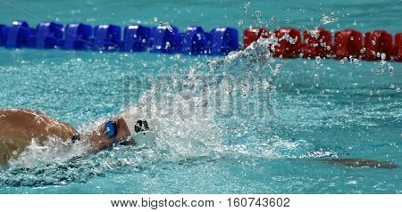Hong Kong China - Oct 29 2016. Katinka HOSSZU (HUN) swimming in the Women's Freestyle 800m Final. FINA Swimming World Cup Victoria Park Swimming Pool.
